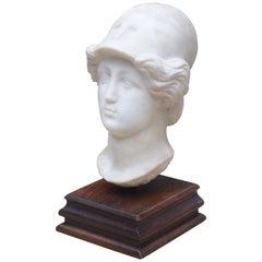 Italian Marble Head on Wooden Base, circa 1800