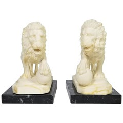 Italian Marble Lion Bookends Artist Signed Midcentury, Italy