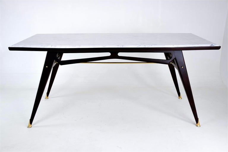 Mid-Century Modern Italian Marble Midcentury Dining Table, 1950s For Sale