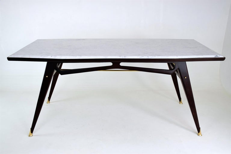 Italian Marble Midcentury Dining Table, 1950s In Good Condition For Sale In Paris, FR