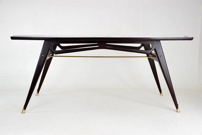 Italian Marble Midcentury Dining Table, 1950s For Sale 1