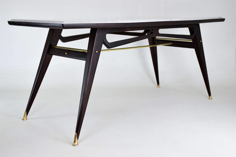 Italian Marble Midcentury Dining Table, 1950s For Sale 3
