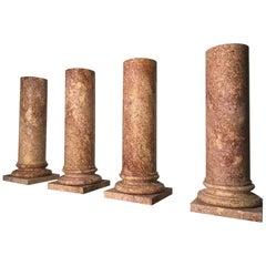 Italian Marble Pedestal Classical Roman Style in Broccatello Specimen Marble