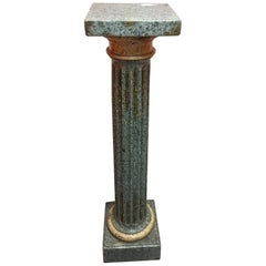 Italian Marble Pedestal with Gold and Bronze Decorations, Early 20th Century