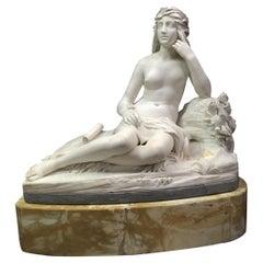 Italian Marble Reclining Nude Life Size Maiden, Signed Rinaldo Rinaldi