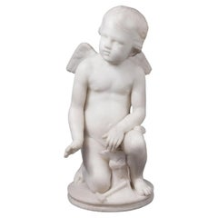 Italian Marble Sculpture of a Cherub Forging Love by Pio Fedi