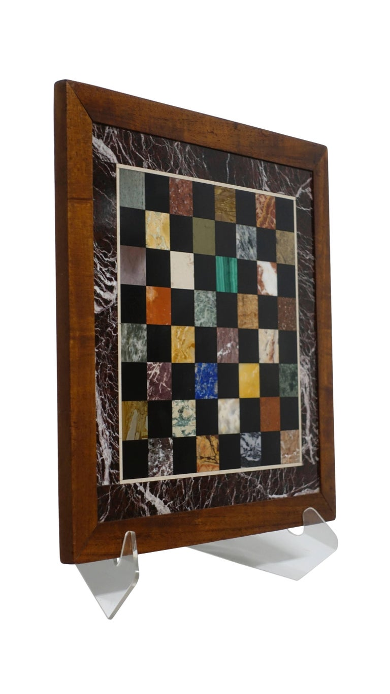 Inlay Italian Marble Specimen Chess Board, Early 20th Century For Sale