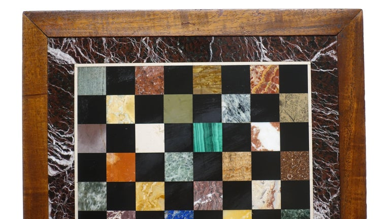 Italian Marble Specimen Chess Board, Early 20th Century In Excellent Condition For Sale In San Francisco, CA