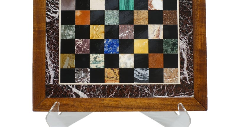 Italian Marble Specimen Chess Board, Early 20th Century For Sale 1
