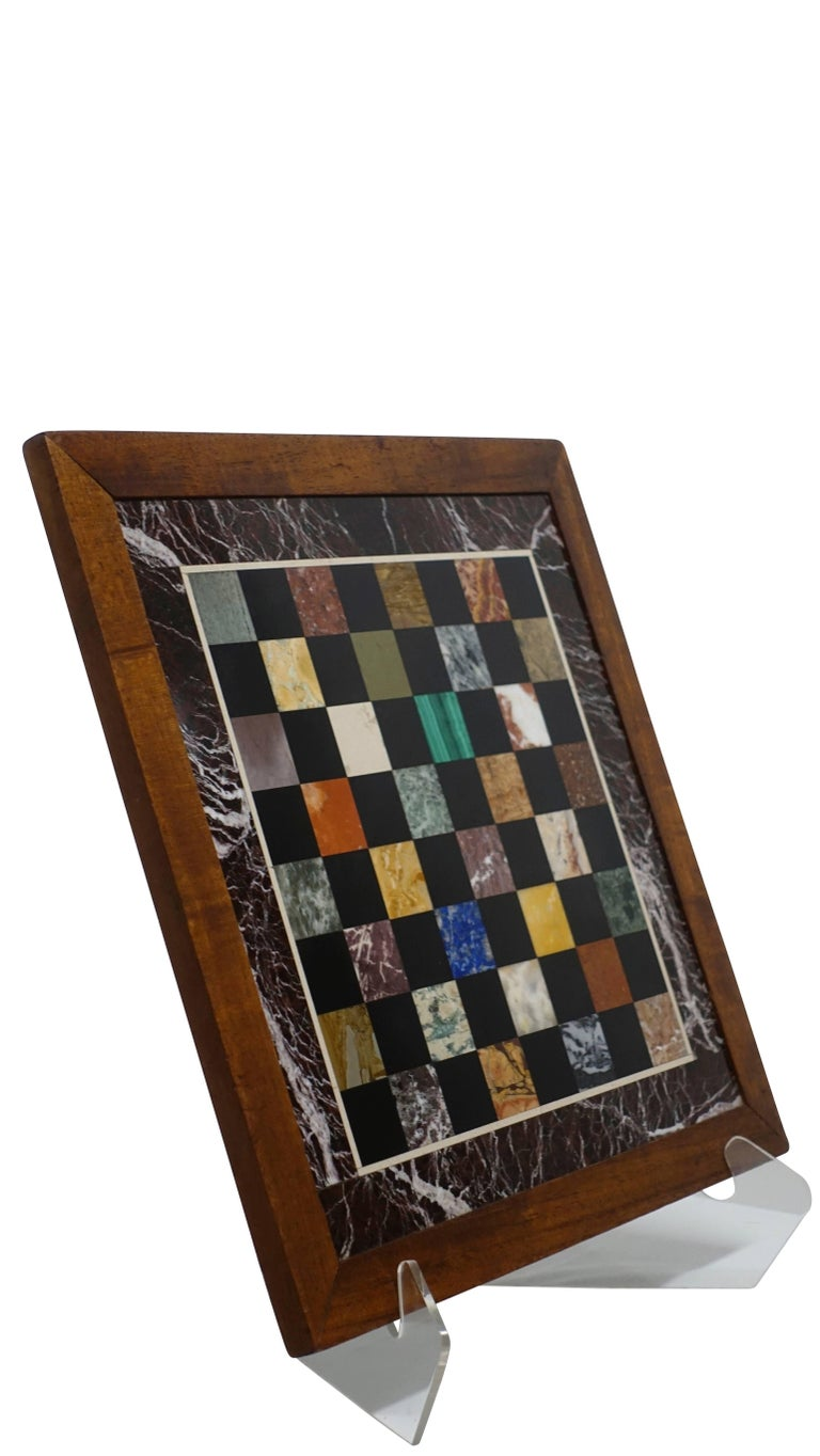 Italian Marble Specimen Chess Board, Early 20th Century For Sale 2
