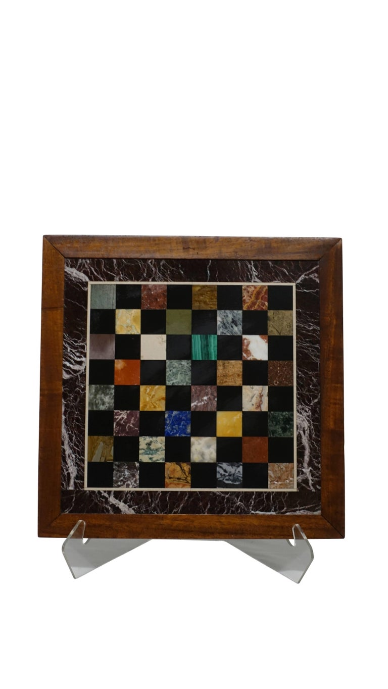 Italian Marble Specimen Chess Board, Early 20th Century For Sale 4