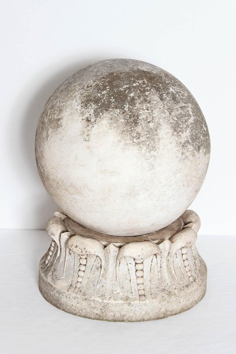 Italian Marble Sphere On Carved Pedestal Base Garden