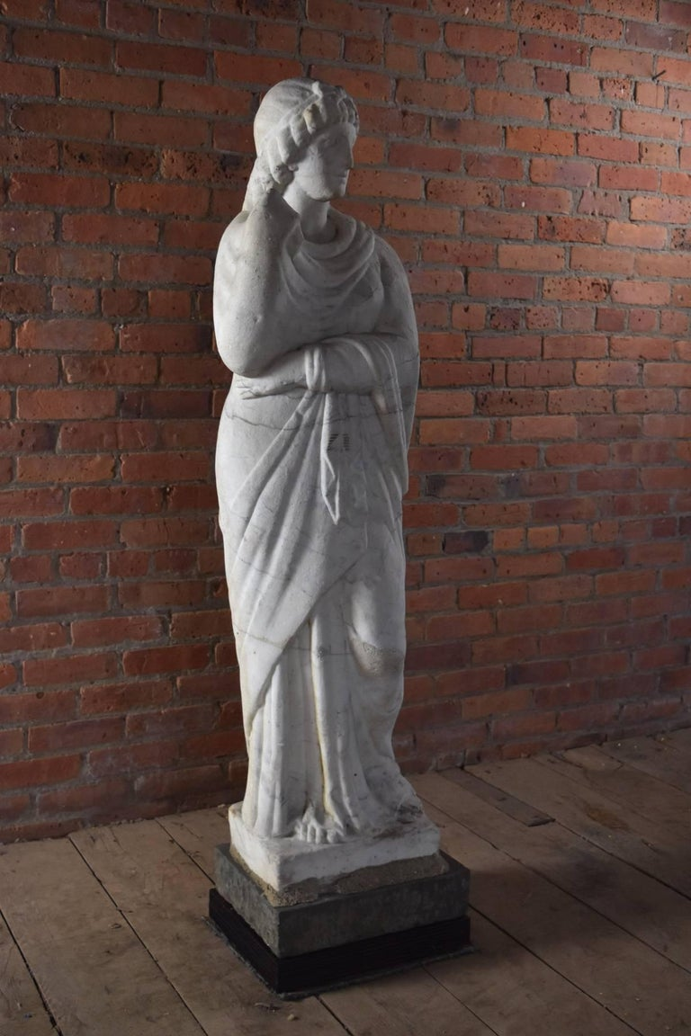 Tall white marble statue possibly representing Livia or Pudicity, an 18th / 19th century