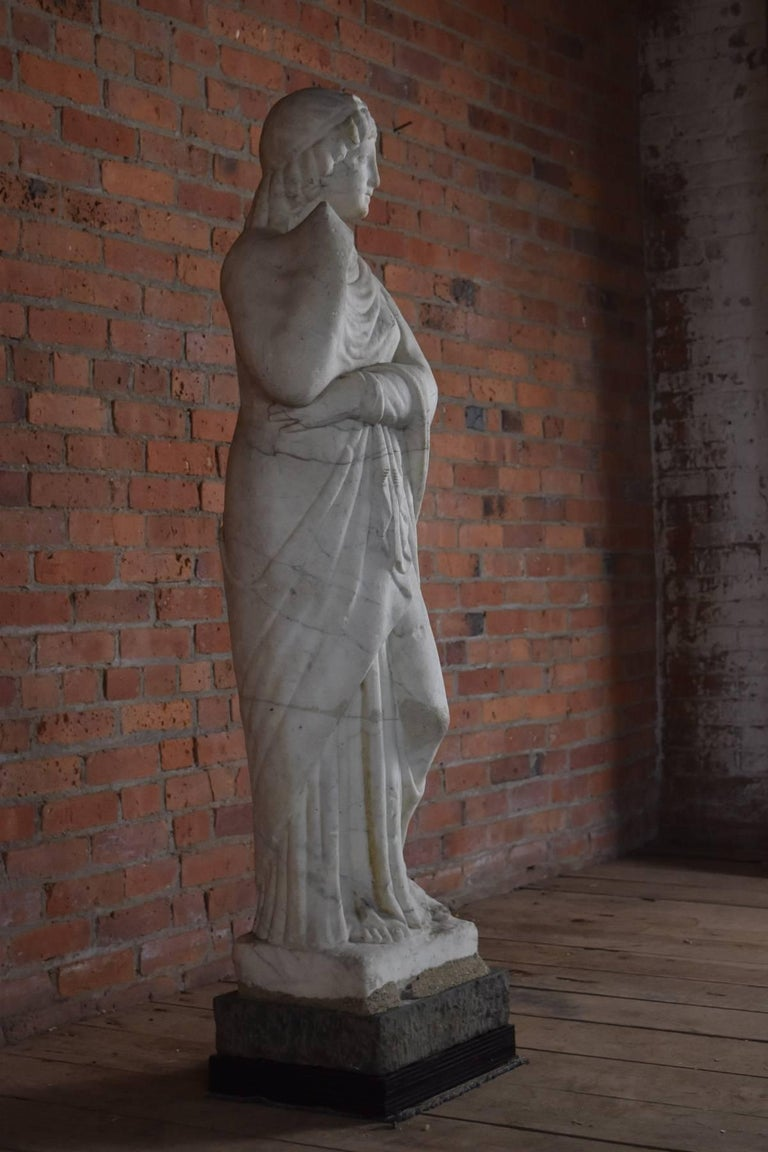 Greek Revival Italian Marble Statue of Livia or Pudicity, 19th Century after the Antique  For Sale