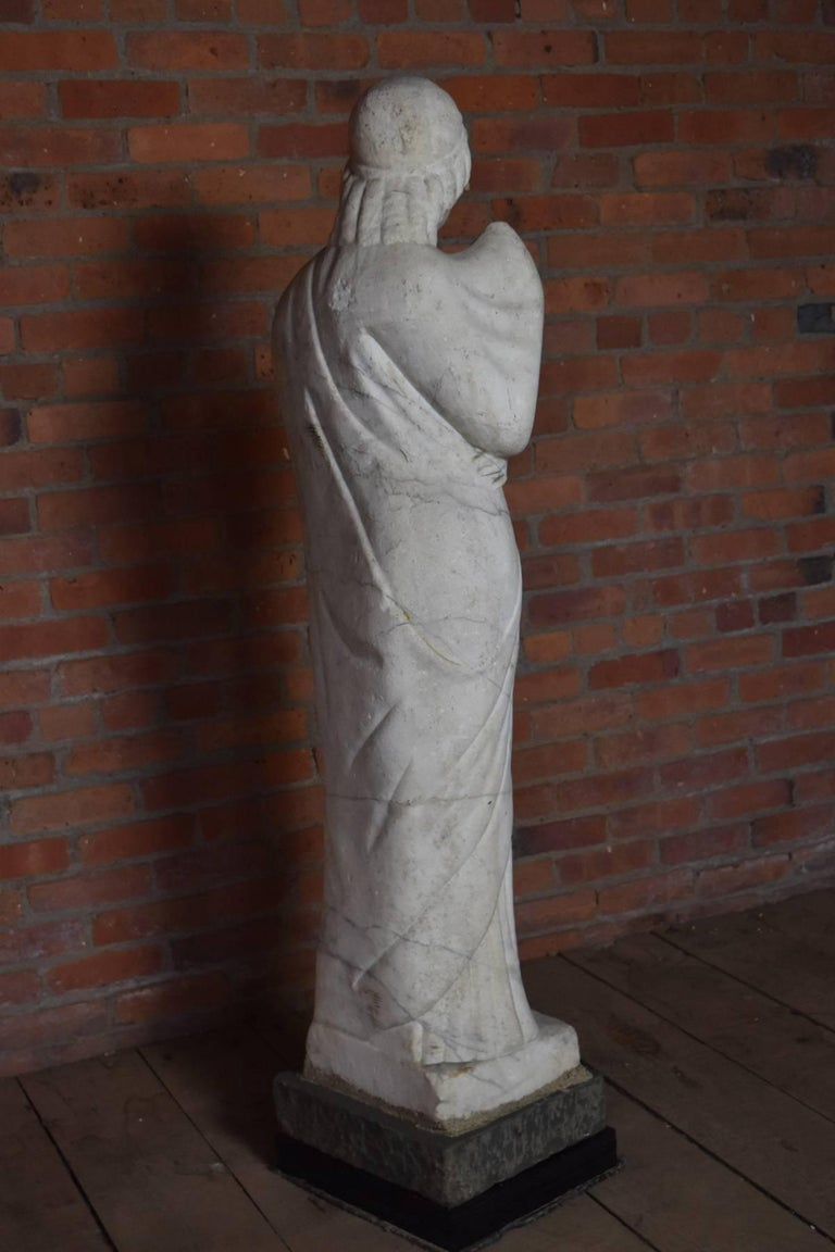 Hand-Carved Italian Marble Statue of Livia or Pudicity, 19th Century after the Antique  For Sale