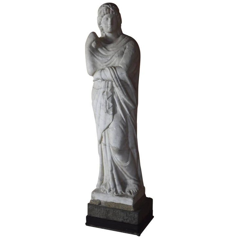 Italian Marble Statue of Livia or Pudicity, 19th Century after the Antique  For Sale