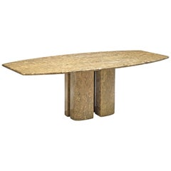Italian Marble Table with Boat-Shaped Table Top