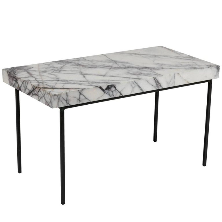 Italian Marble-Top and Iron Side Table