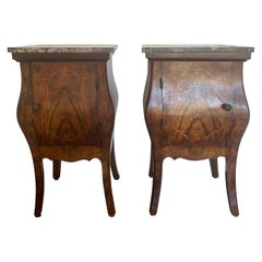 Italian Marble-Top Bombe Bedside Cabinets