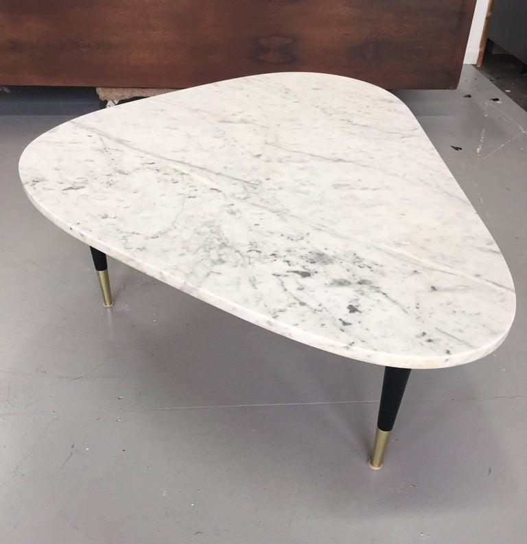 Marble Top Coffee Table Brass Legs: Italian Marble-Top Coffee Table With Brass Caps After Gio