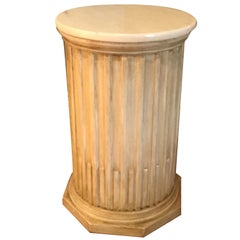 Italian Marble-Top Fluted Wood Pedestal
