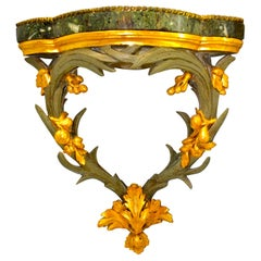 Italian Marble Topped Gilded and Silver Leafed Corner Bracket