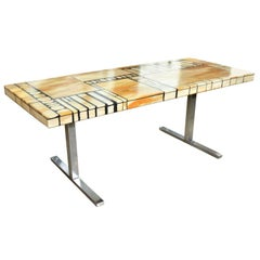 Italian Marble and Scagliola Coffee Table