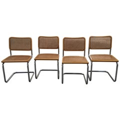 "Italian Marcel Breuer Cane and Wicker Chrome ""Cesca"" Chairs from 1970s"