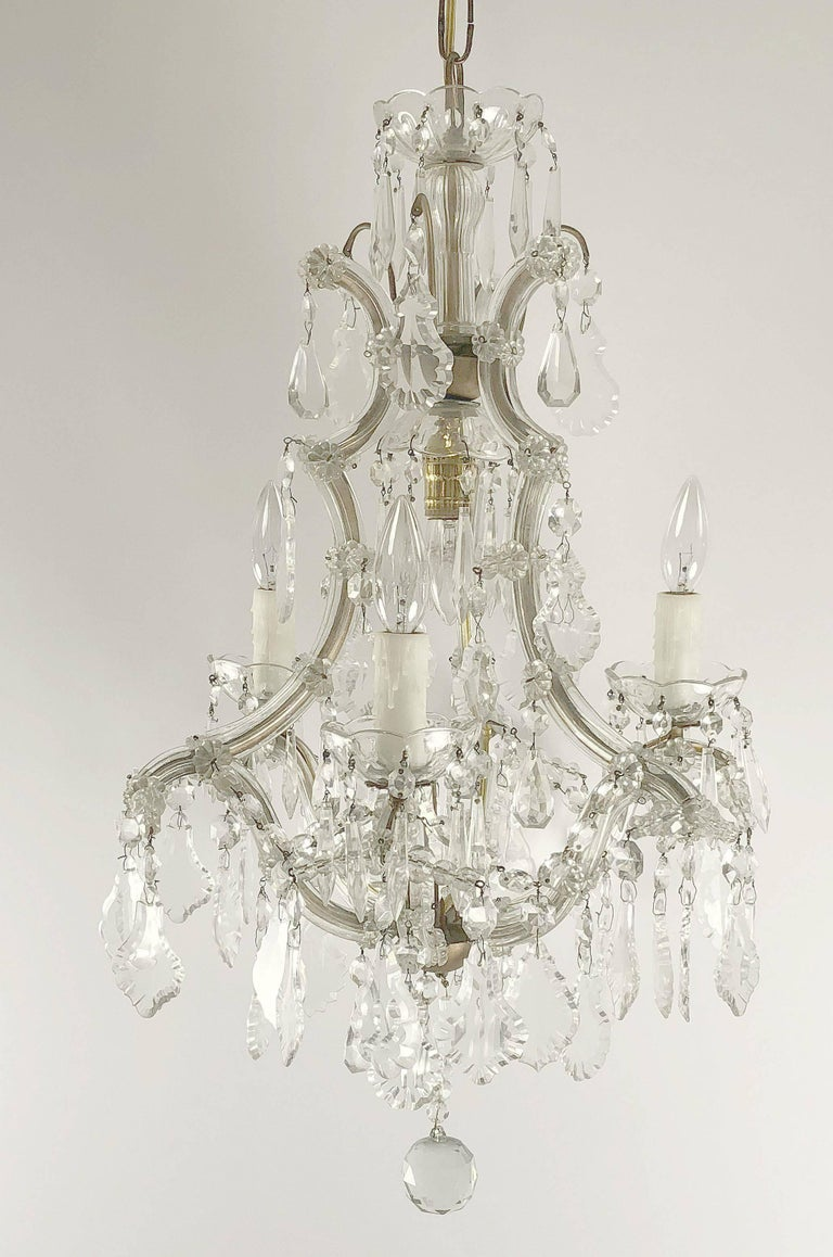 Faceted Italian Maria Theresa Four-Light Chandelier (17