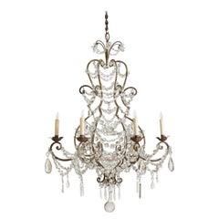 Italian Maria Theresa Style Gilt Iron and Glass 6-Arm Chandelier, UL