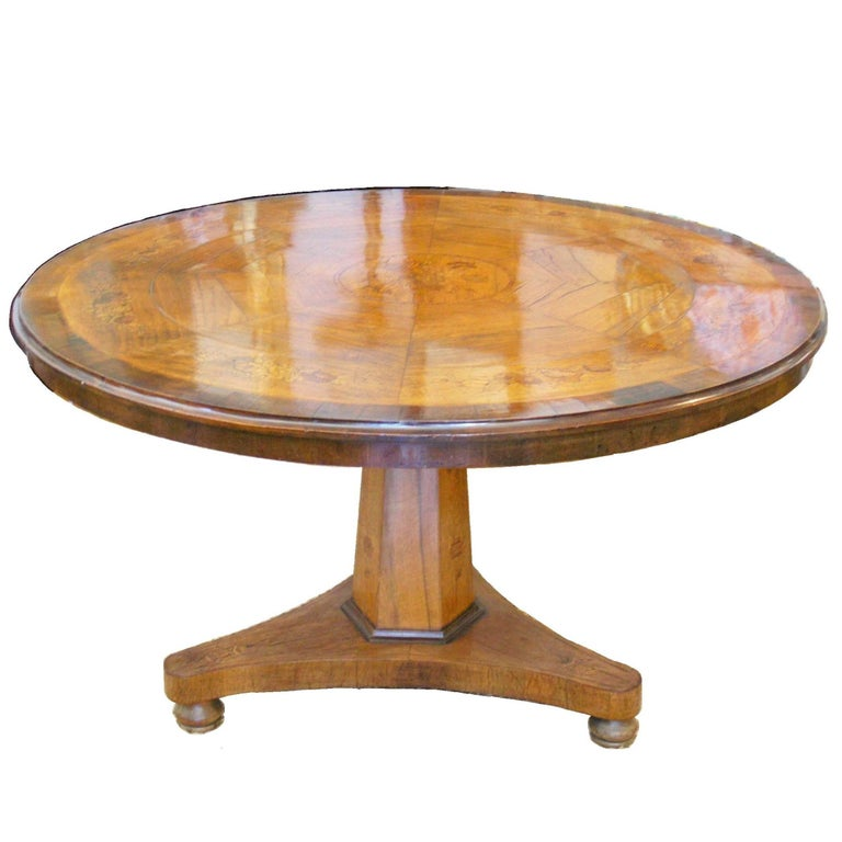 Italian Marquetry Inlaid Center Table 19th C.