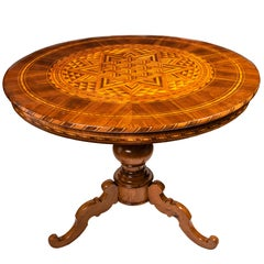 Italian Marquetry Center Table from Rolo Mid-19th Century Circular Inlaid Table