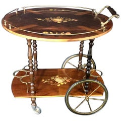 Italian Marquetry Lacquered Drop Leaf Walnut and Brass Bar Cart
