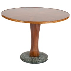 Italian Marquetry Top Center Table in the Manner of Paolo Buffa