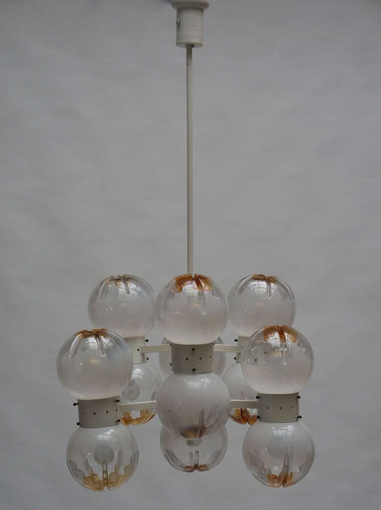 Mid-Century Modern Italian Mazzega Chandelier with 12 Globes For Sale