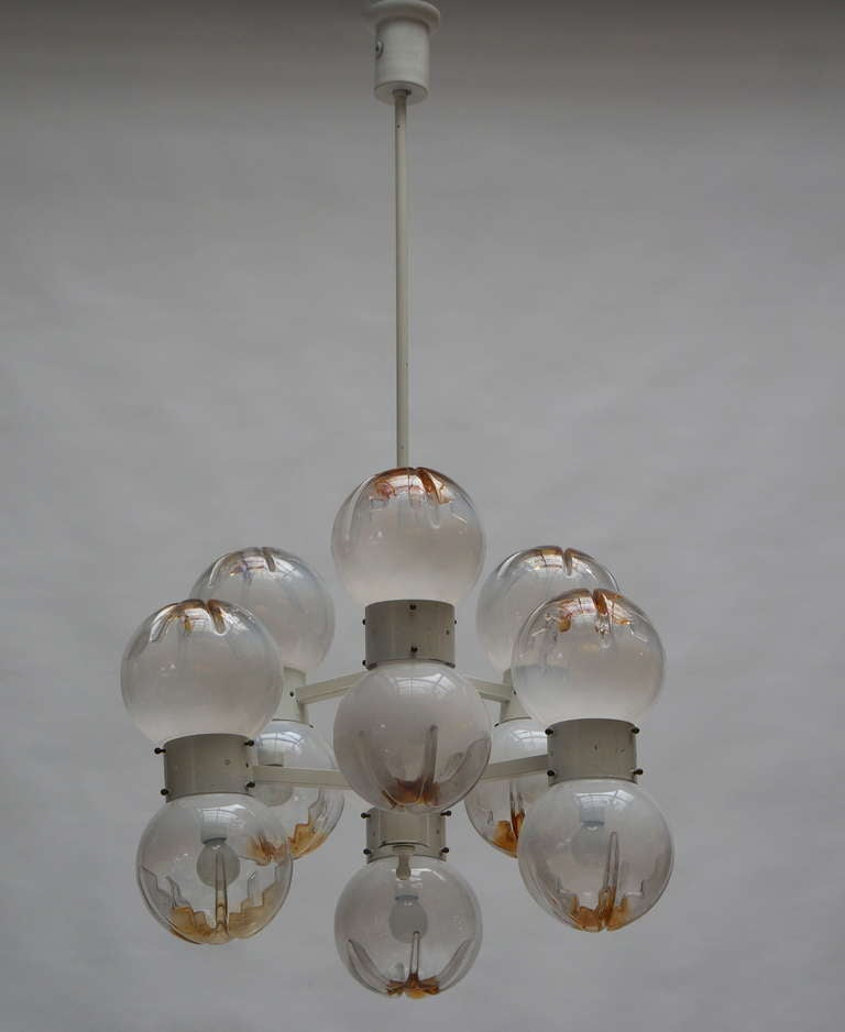 Italian Mazzega Chandelier with 12 Globes In Good Condition For Sale In Antwerp, BE