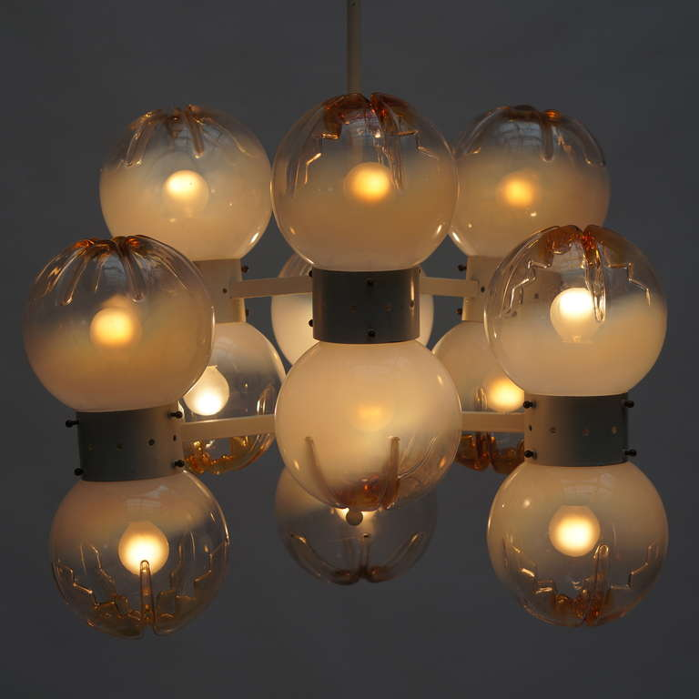 Metal Italian Mazzega Chandelier with 12 Globes For Sale