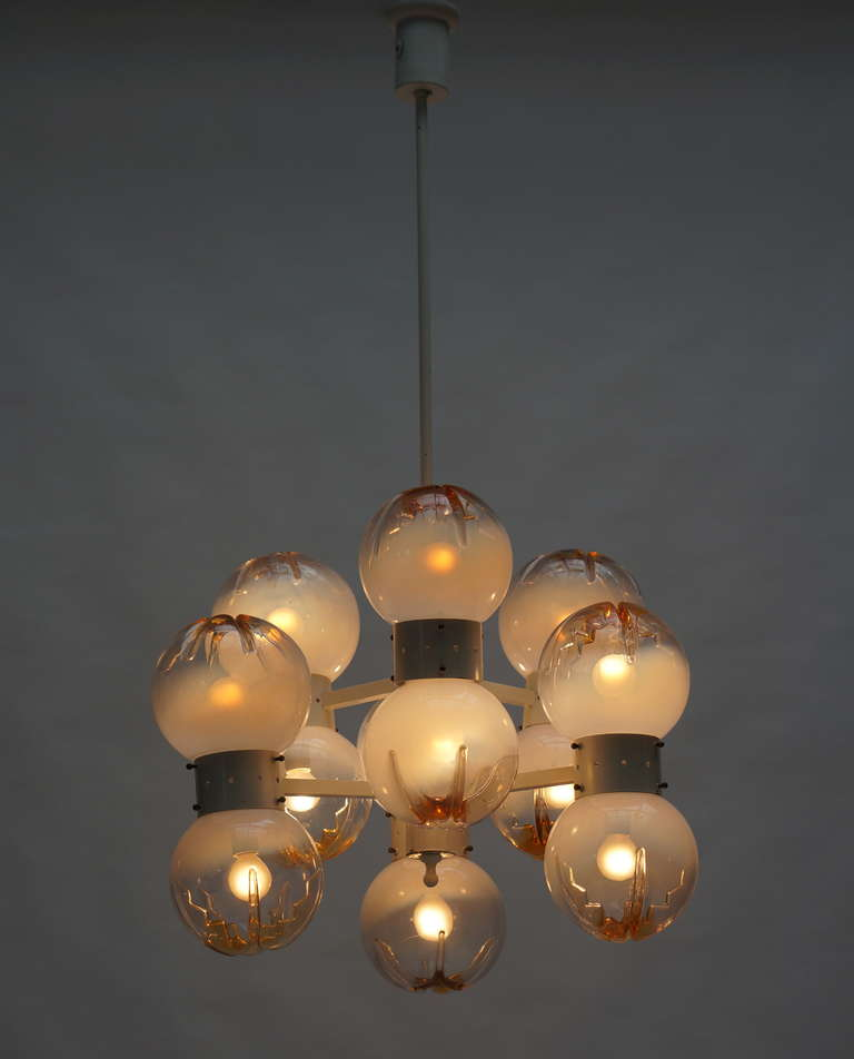 Italian Mazzega Chandelier with 12 Globes For Sale 2