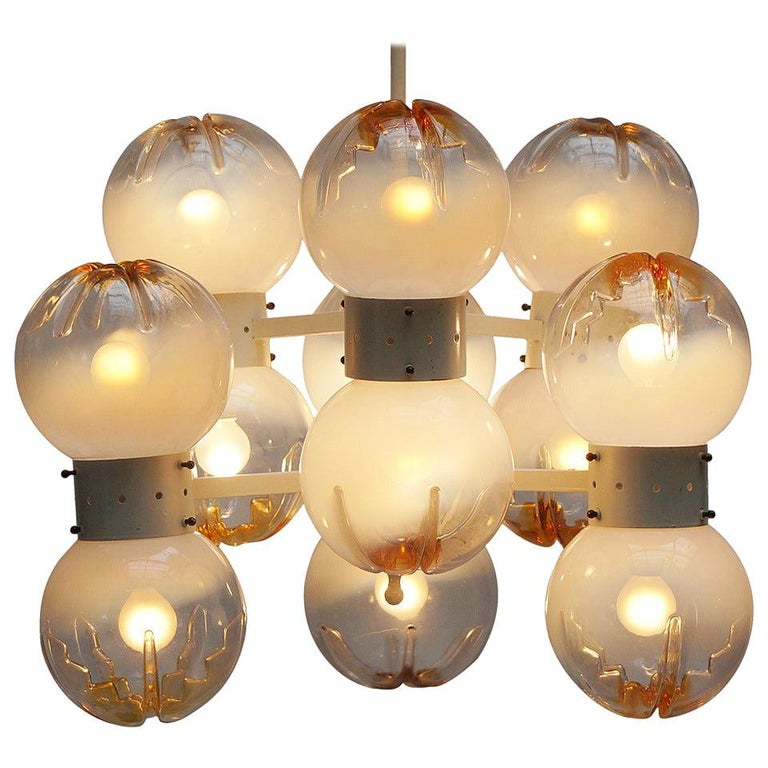 Italian Mazzega Chandelier with 12 Globes For Sale