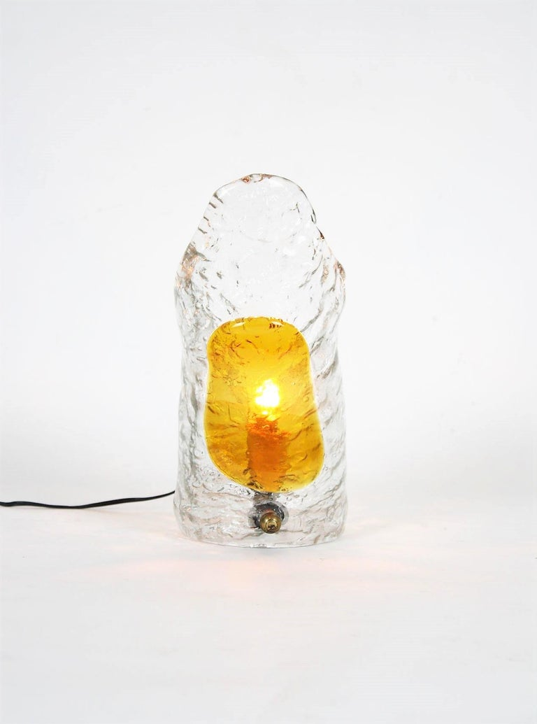 Hand blown Murano glass table lamp manufactured by Mazzega, Italy, 1960s.