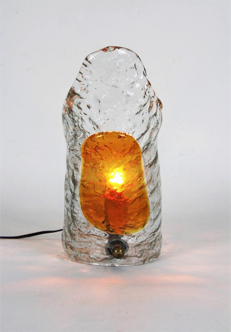 Art Glass Italian Modernist Mazzega Murano Amber Clear Textured Glass Table Lamp For Sale