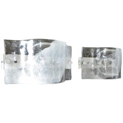 Mazzega Wall Sonces of Italian Cast Murano Glass In Clear and White Enamel Back