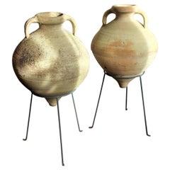 Italian Mediterranean Terracotta Garden Urn Vase Pot Amphora Olive Jar Hand Pair