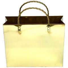 Italian Medium Brass Shopping Bag in the Manner of Gio Ponti, Restored