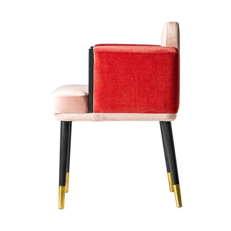 Unknown Italian Black Lacquer Walnut and Pink Velvet Chair For Sale