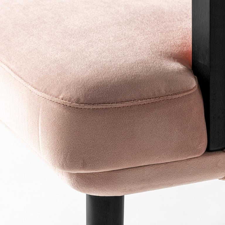 Contemporary Italian Black Lacquer Walnut and Pink Velvet Chair For Sale