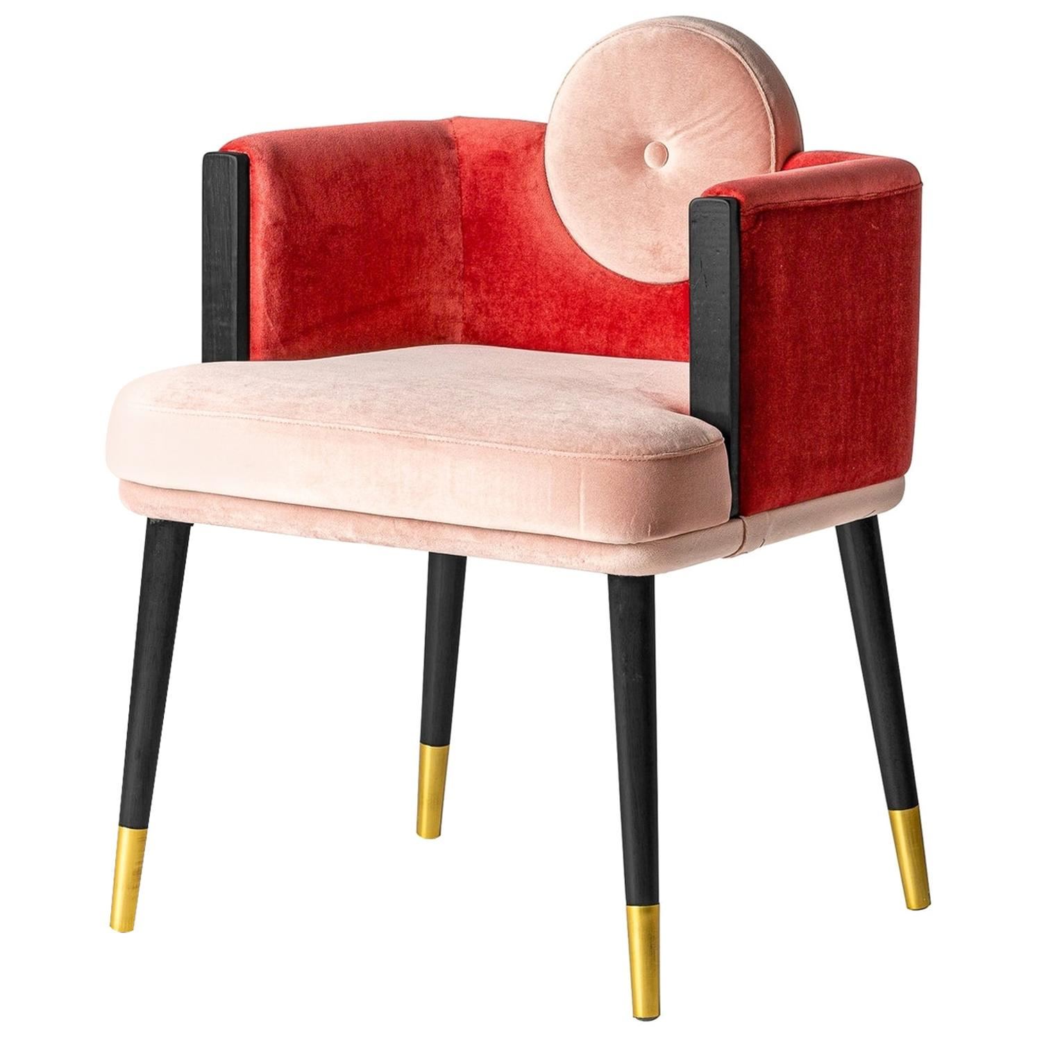 Italian Black Lacquer Walnut and Pink Velvet Chair