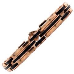 Italian Men's Onyx Rose Gold Modern Link Bracelet