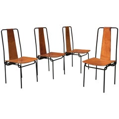 Italian Metal and Cognac Leather Chairs, 1980s