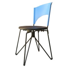 Italian Metal and Light Blue and Black Plastic Folding Chair, 1980s